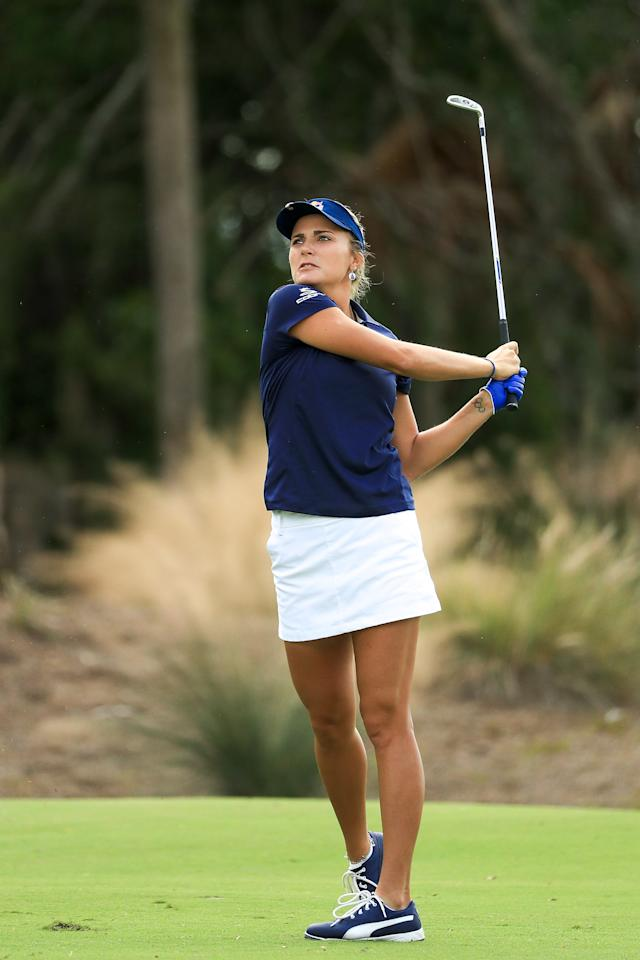 "<h1 class=""title"">lexi thompson CME Group Tour Championship - Final Round</h1> <div class=""caption""> NAPLES, FL - NOVEMBER 18: Lexi Thompson plays her second shot on the second hole during the final round of the LPGA CME Group Tour Championship at Tiburon Golf Club on November 18, 2018 in Naples, Florida. (Photo by Mike Ehrmann/Getty Images) </div> <cite class=""credit"">Mike Ehrmann</cite>"