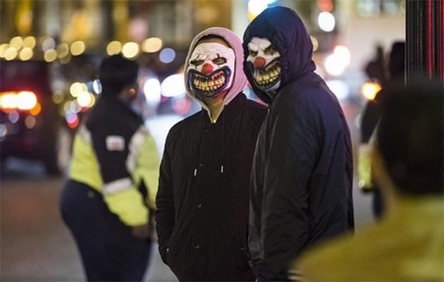 Frightening clowns pictured in public. Source: Supplied