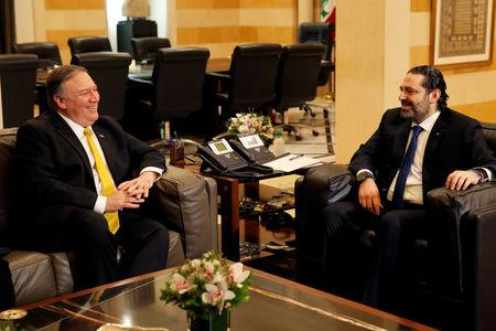 U.S. Secretary of State Mike Pompeo meets with Lebanese Prime Minister Saad al-Hariri at the governmental palace in Beirut