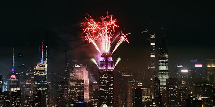 Fireworks are seen lighting up the sky on July 04, 2020 in New York City/