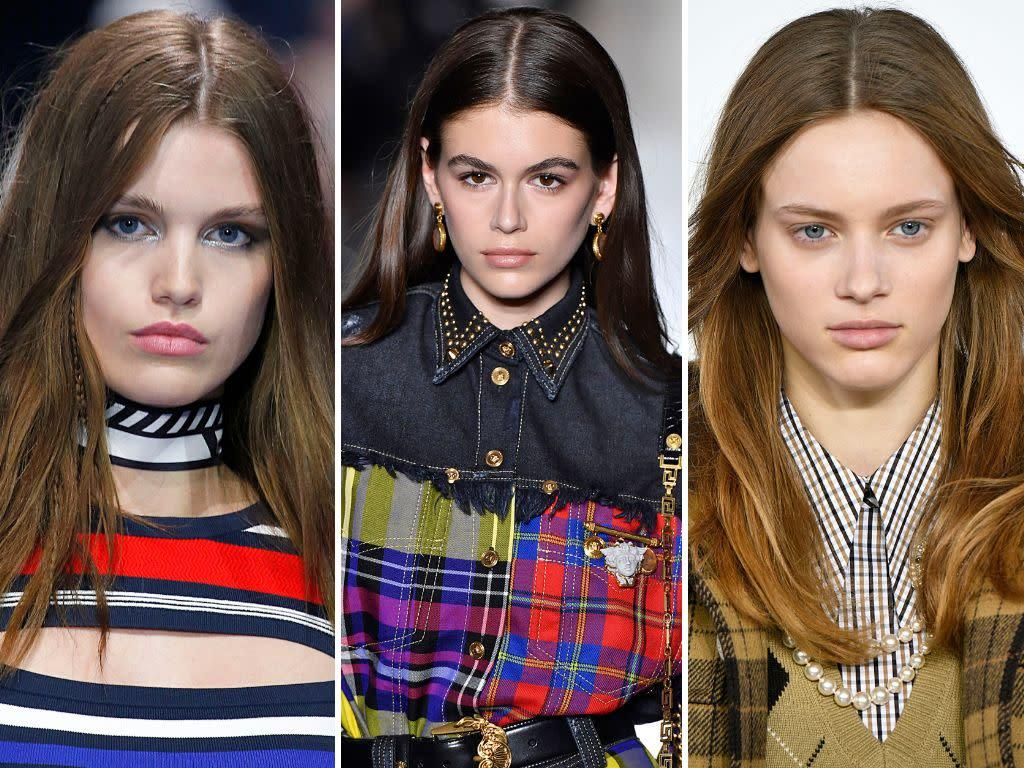 The middle part has proved its staying power of the years, and for fall, it's still going strong. We saw it on the runways at Tommy Hilfiger, Versace and Michael Kors, to name a few.&nbsp;<br><br><i>(Left to right: Tommy Hilfiger, Versace, Michael Kors)</i>