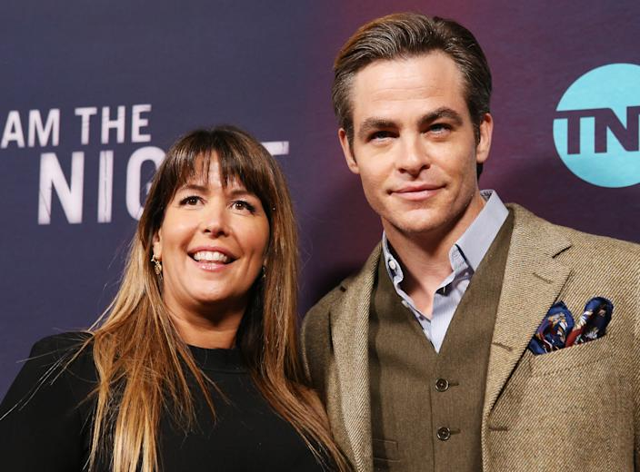 """LOS ANGELES, CALIFORNIA - JANUARY 24: Patty Jenkins and Chris Pine attend the Los Angeles premiere of TNT's """"I Am The Night"""" held at Harmony Gold on January 24, 2019 in Los Angeles, California. (Photo by Michael Tran/FilmMagic,,)"""