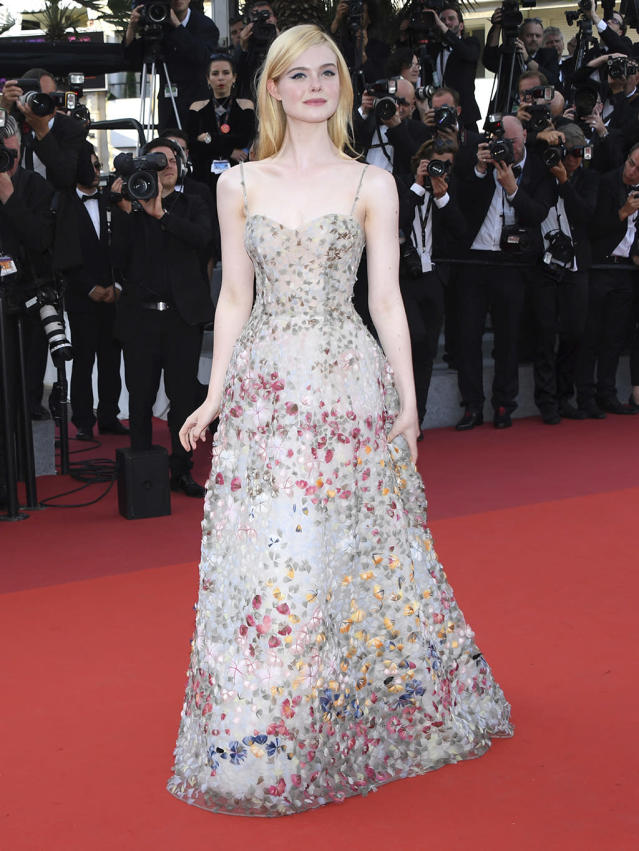 <p>Elle Fanning arrives at the 70th Anniversary of the film festival on May 23, 2017. (Photo: Arthur Mola/Invision/AP) </p>