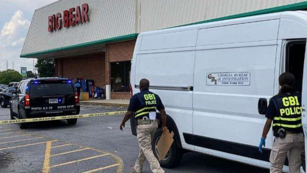 PHOTO: Members of law enforcement respond to a scene where three people were shot at a Big Bear store after a dispute over mask wearing in Dekalb County, Ga., June 14, 2021. (@GBI_GA/Twitter)