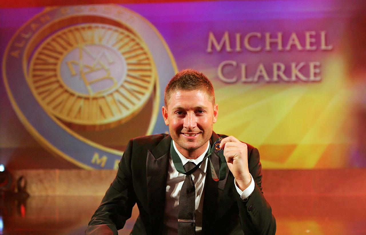 MELBOURNE, AUSTRALIA - FEBRUARY 27:  Michael Clarke of Australia poses after winning the Allan Border Medal during the 2012 Allan Border Medal Awards at Crown Palladium on February 27, 2012 in Melbourne, Australia.  (Photo by Scott Barbour/Getty Images)