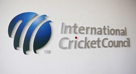 The International Cricket Council (ICC) logo at the ICC headquarters in Dubai