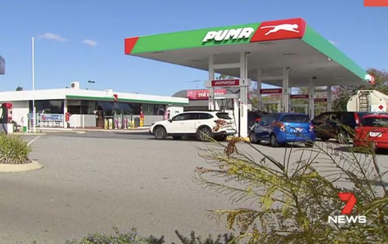 The incident happened at this Meadow Springs petrol station last Thursday. Source: 7 News