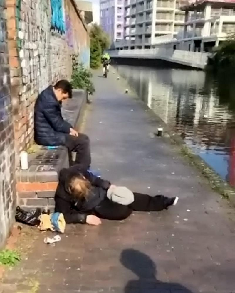 They found the homeless man slumped against a bench (Picture: SWNS)