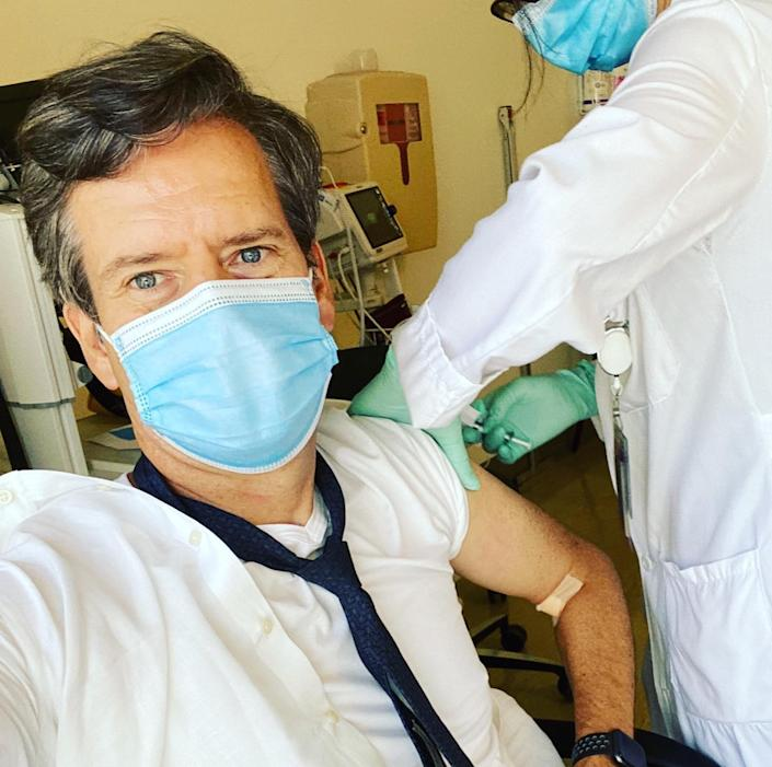 Brad Hoylman receiving a dose of the coronavirus vaccine in New York City in August 2020.