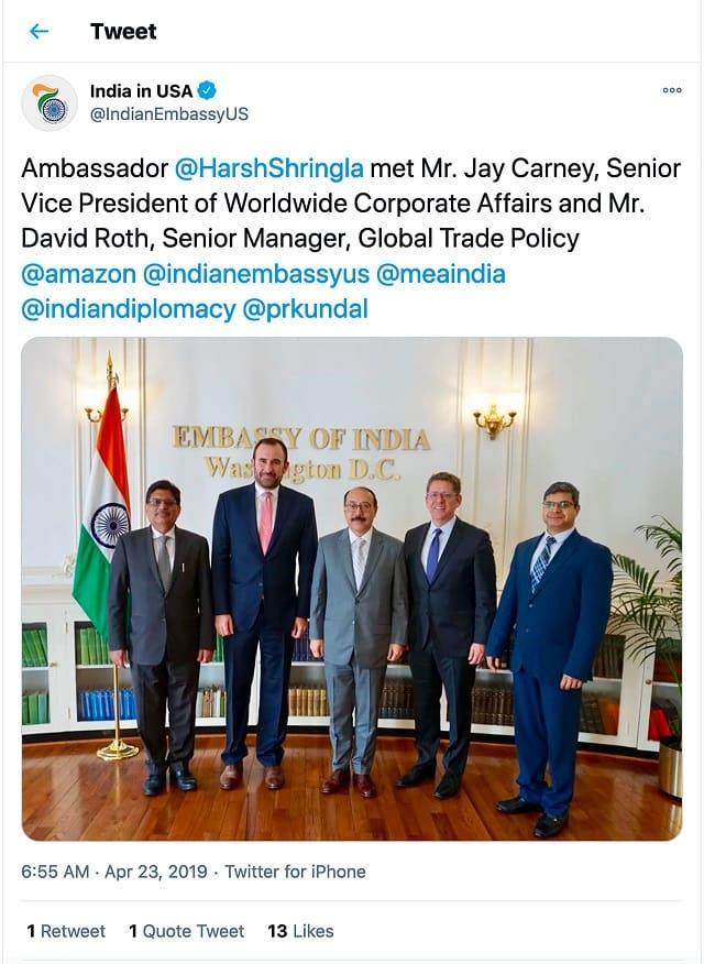 The Indian embassy in Washington tweeted a picture of the ambassador (center) with Amazon executive Jay Carney (second from right) after they met in April 2019. Source: Twitter screenshot via REUTERS