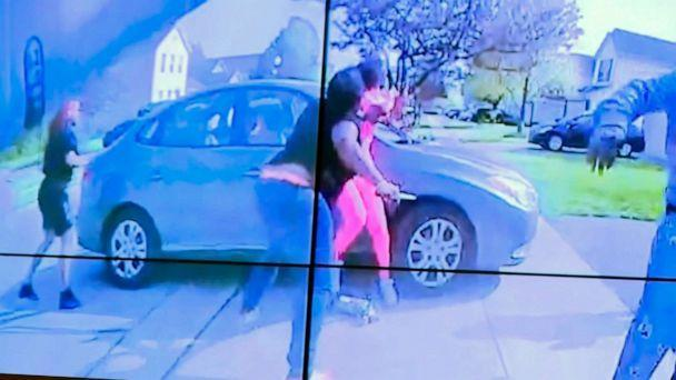 PHOTO: A still image from police body cam appears to show what police describe as the girl swinging a knife toward another female, before police fired, April 20 2021, in Columbus, Ohio. (Columbus Police Dept. via WSYX/AP)