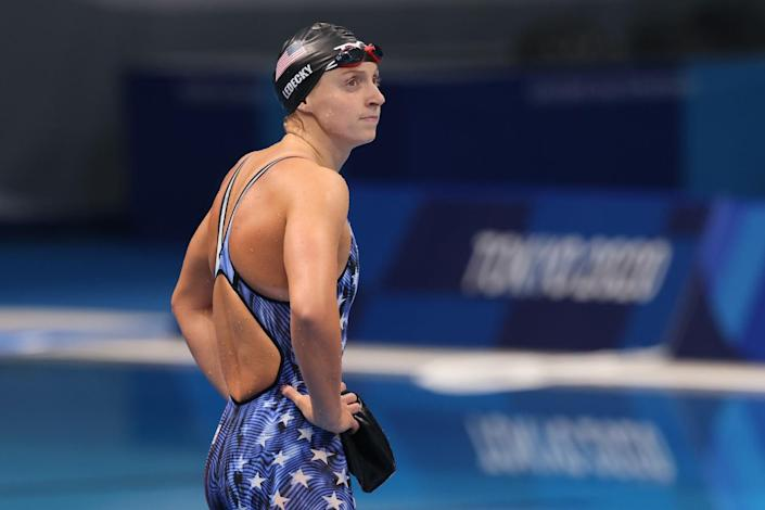 USA's Katie Ledecky shows disappointment.