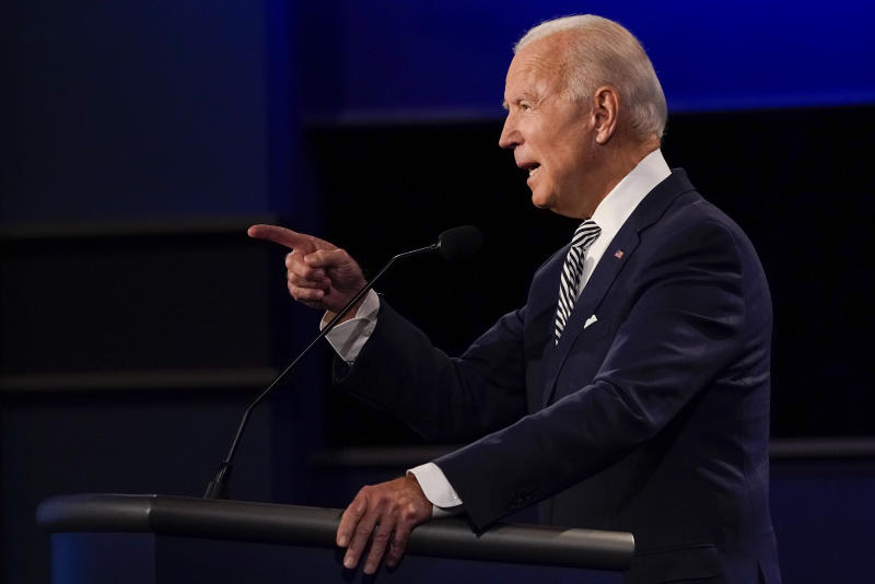 Joe Biden gestures while speaking during the first presidential debate on Sept. 29, 2020, at Case Western University and Cleveland Clinic, in Cleveland, Ohio. (Julio Cortez/AP)