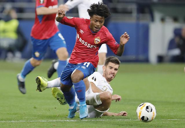 Lucas Santos durante partida do CSKA. (Foto: Mikhail Japaridze\TASS via Getty Images)