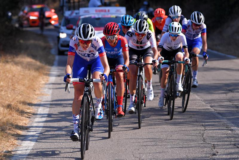 MOTTAMONTECORVINO ITALY SEPTEMBER 19 Brodie Chapman of Australia and Team FDJ Nouvelle Aquitaine Futuroscope Lara Vieceli of Italy and Ceratizit WNT Pro Cycling Team Juliette Labous of France and Team Sunweb Niamh FisherBlack of New Zealand and Team Paule Ka Peloton during the 31st Giro dItalia Internazionale Femminile 2020 Stage 9 a 1099km stage from Motta Montecorvino to Motta Montecorvino 645m GiroRosaIccrea GiroRosa on September 19 2020 in Motta Montecorvino Italy Photo by Luc ClaessenGetty Images