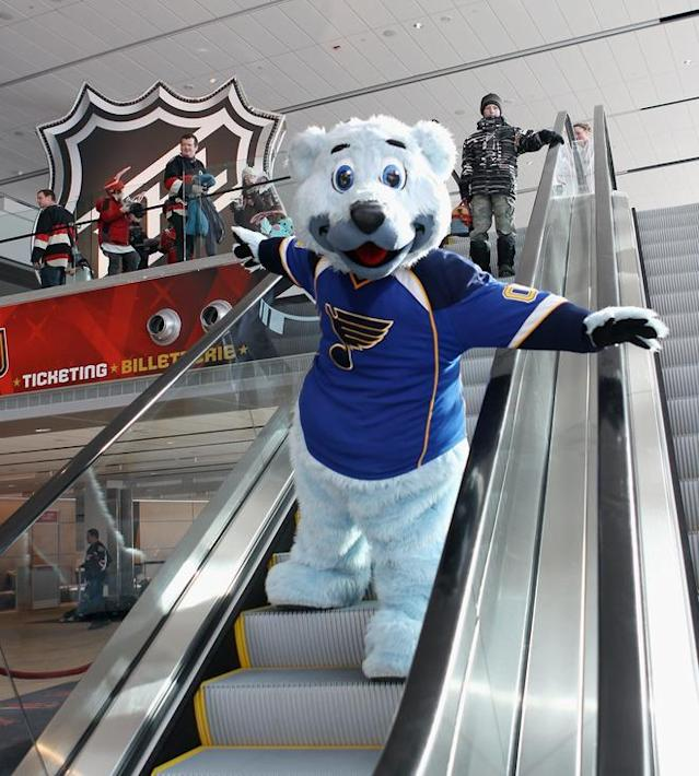 OTTAWA, ON - JANUARY 27: Louie, the mascot for the St. Louis Blues makes an appearance at the Scotiabank NHL Fan Fair at the Ottawa Convention Center on January 27, 2012 in Ottawa, Canada. (Photo by Bruce Bennett/Getty Images)