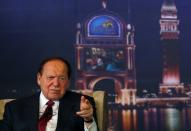 FILE PHOTO: Las Vegas Sands Chairman and CEO Sheldon Adelson speaks during a news conference at Sands Cotai Central, Sands' newest integrated resort in Macau