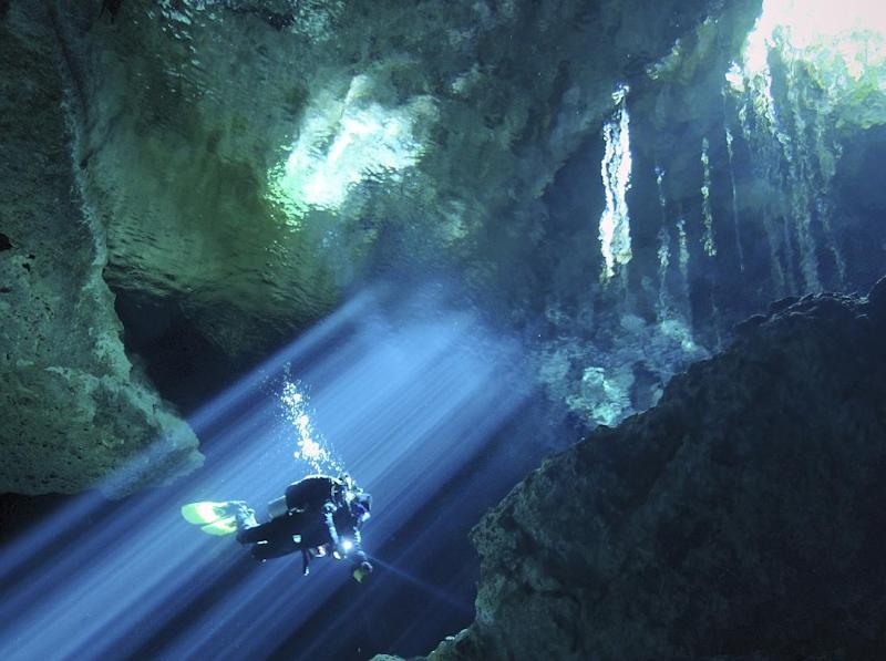 """This undated image released by Animal Planet shows an image from the upcoming series, """"Underworld,"""" where divers explore underwater caves around the world. Animal Planet is unveiling 11 new shows for the season ahead. (AP Photo/Animal Planet, Karen Doody)"""