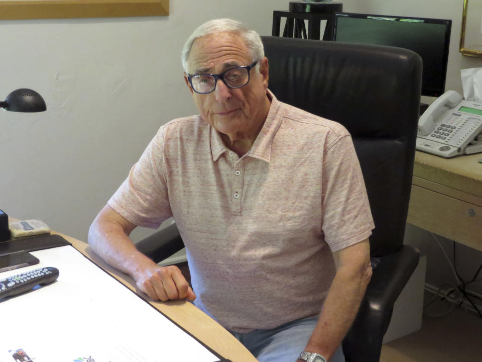 FILE - In this Aug. 10, 2015 file photo, former NBC President Fred Silverman poses in his office in Los Angeles. Silverman, who steered programming for each of the Big Three broadcast networks, died Thursday, Jan. 30, 2020, at his Los Angeles area home. He was 82. (AP Photo/Frazier Moore, File)