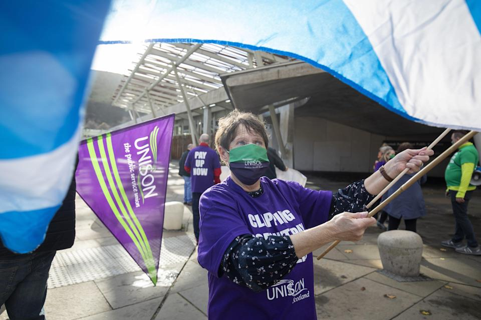 NHS workers and Unison members (Jane Barlow/PA) (PA Archive)