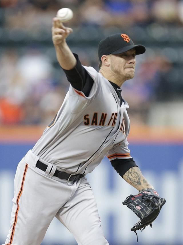 San Francisco Giants' Jake Peavy delivers a pitch during the first inning of a baseball game against the New York Mets on Saturday, Aug. 2, 2014, in New York. (AP Photo/Frank Franklin II)