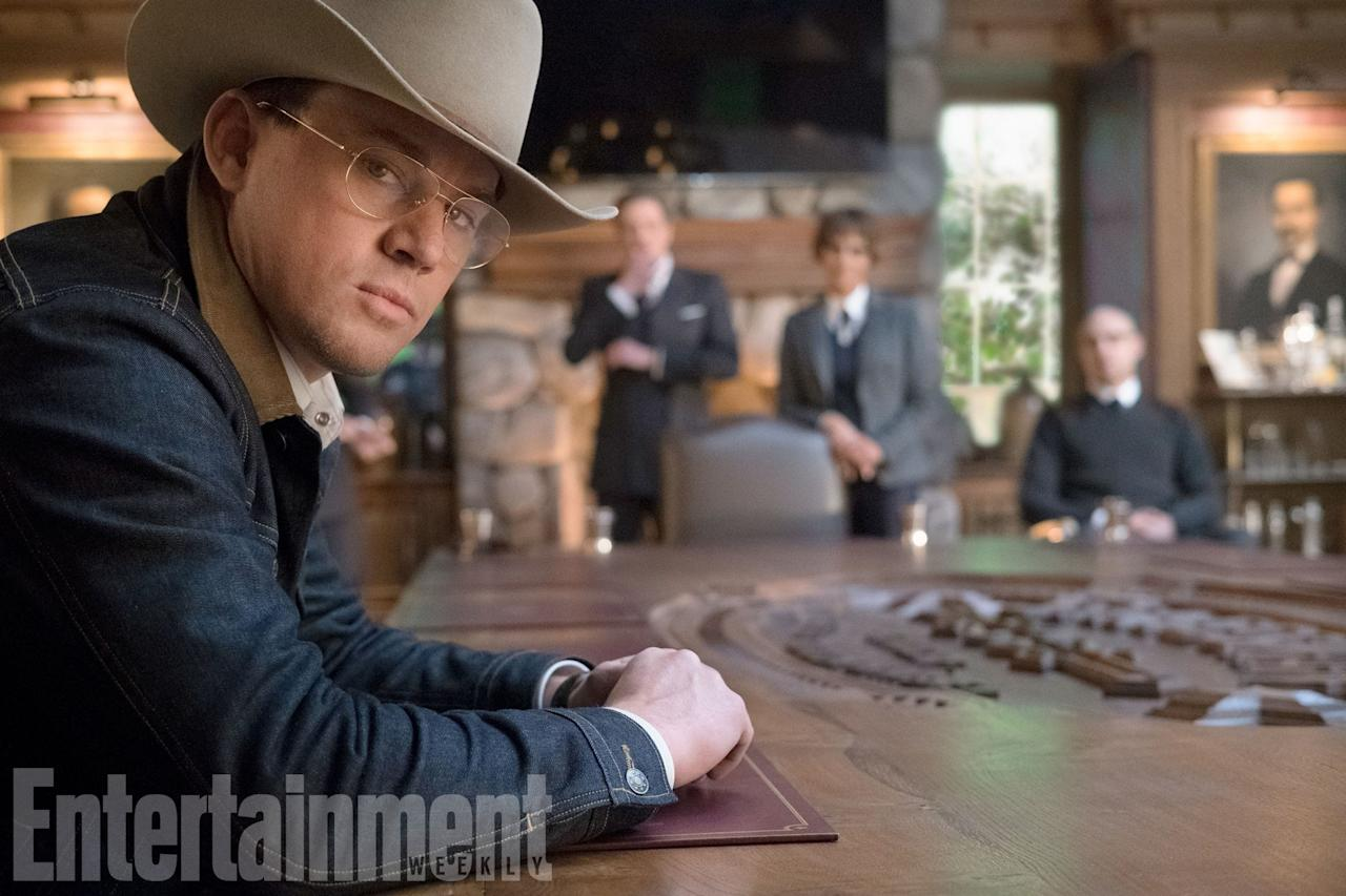 "<p>It's no secret that Channing Tatum is in 'Kingsman: The Golden Circle' – he's been officially cast for some time. But we still don't know much about his character. We do know that he's a Statesman Secret Agent… and it sounds as though he might have a rather awesome-sounding weapon. ""Brand new, beyond-Bond gadgets include a mechanical attack dog and an electric cowboy-style lasso that slices through bad guys."" Surely that's got to be Tatum's lasso? </p>"