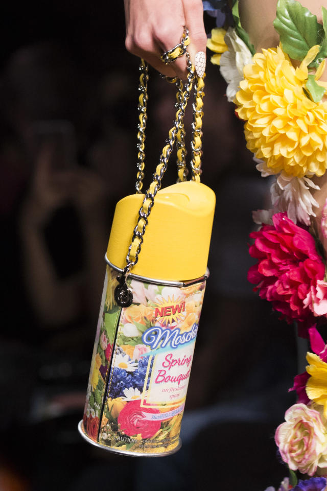 <p><i>Air-freshener can-as-bag from the SS18 Moschino collection. (Photo: ImaxTree) </i></p>