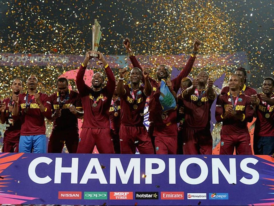 The West Indies lift the ICC World T20 trophy in 2016 (Getty Images)