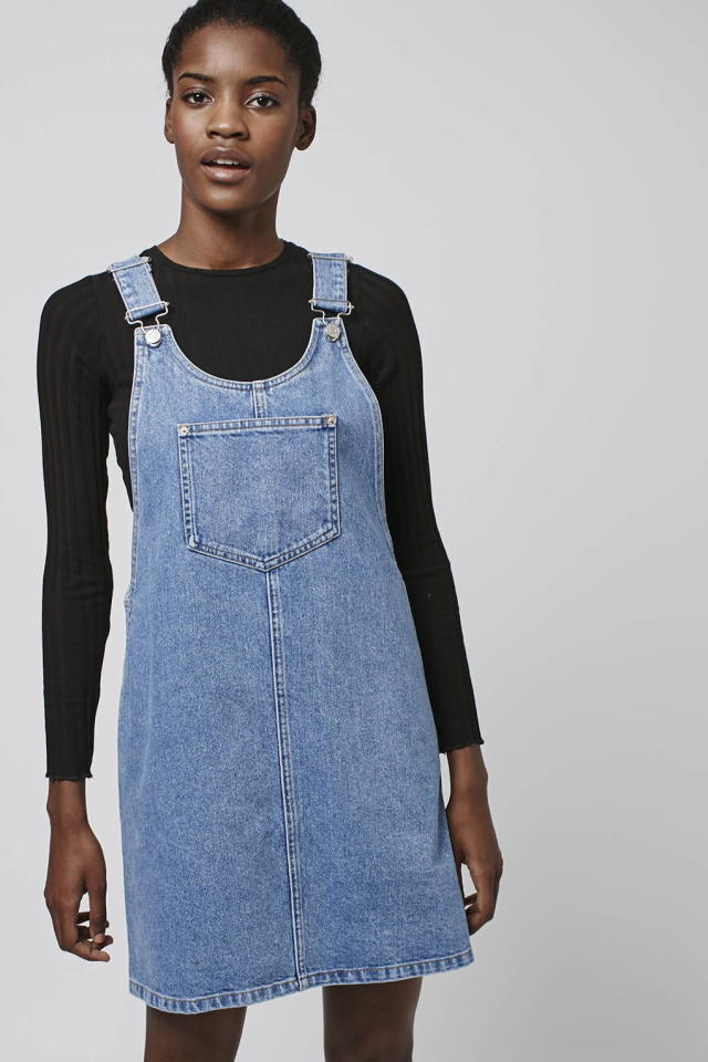 """<p>Go girly by wearing a denim dress, you can even layer a top underneath if its a bit chilly. Perfect for a casual day look. <a href=""""http://www.topshop.com/en/tsuk/product/clothing-427/denim-4889473/moto-scoop-neck-denim-pini-5366861?bi=1&ps=20""""><i>[Topshop, £35]</i></a></p>"""