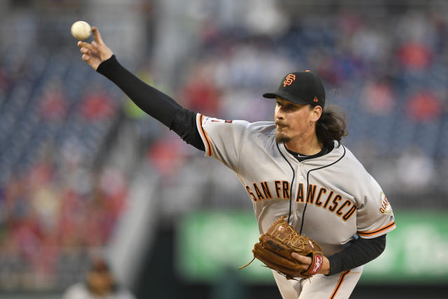 San Francisco Giants starting pitcher Jeff Samardzija throws during the first inning of the team's baseball game against the Washington Nationals, Wednesday, April 17, 2019, in Washington. (AP Photo/Nick Wass)