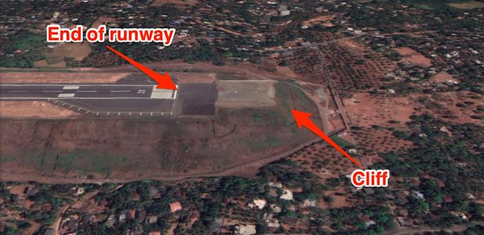 """Runway 10/28 at Calicut International Airport in India is a classic example of a """"tabletop runway."""""""