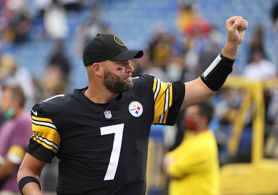 ORCHARD PARK, NY - SEPTEMBER 12: Ben Roethlisberger #7 of the Pittsburgh Steelers waves to the crowd as he walks off the field after a game against the Buffalo Bills at Highmark Stadium on September 12, 2021 in Orchard Park, New York. (Photo by Timothy T Ludwig/Getty Images)