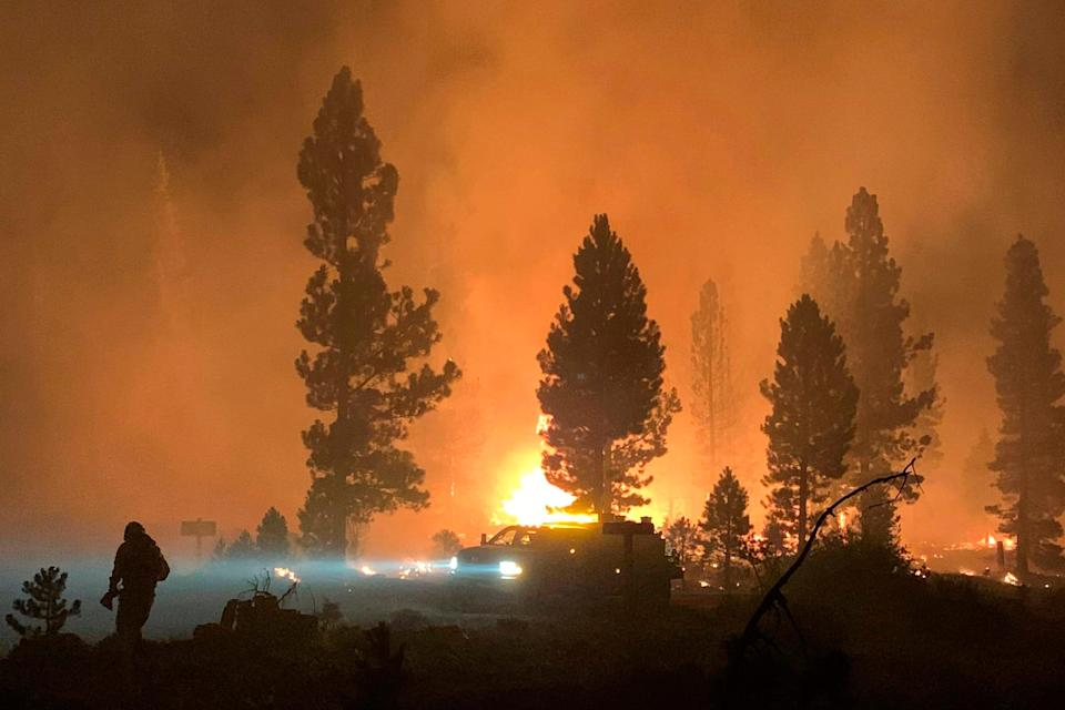 The Bootleg Fire burns at night in southern Oregon on Saturday, July 17, 2021.