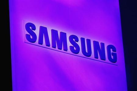 The company logo is displayed at the Samsung news conference at the Consumer Electronics Show (CES) in Las Vegas