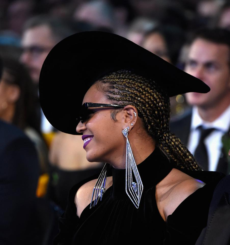 <p>Knowles skipped the Grammys red carpet in 2018, but was spotted with a cornrow ponytail while watching the show.</p>