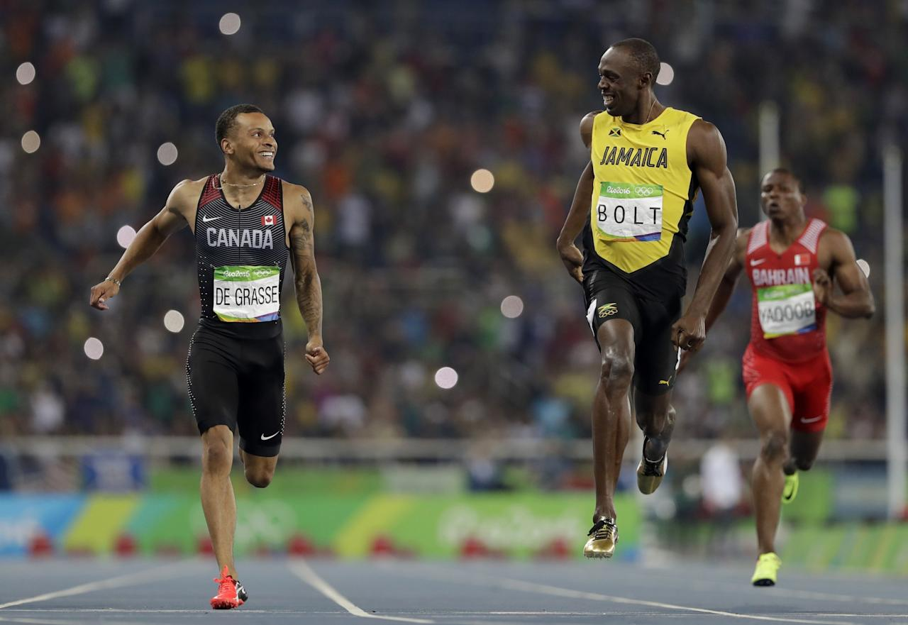 <p>Andre De Grasse led the charge for Canada's track and field resurgence in Rio, powered by bravado and youthful exuberance. His haul? Three Olympic medals, a silver and two bronzes, and an iconic photo with Usain Bolt at the finish line of the 200m semifinal that will stand as one of the lasting images from the Games. (AP Photo/David J. Phillip) </p>