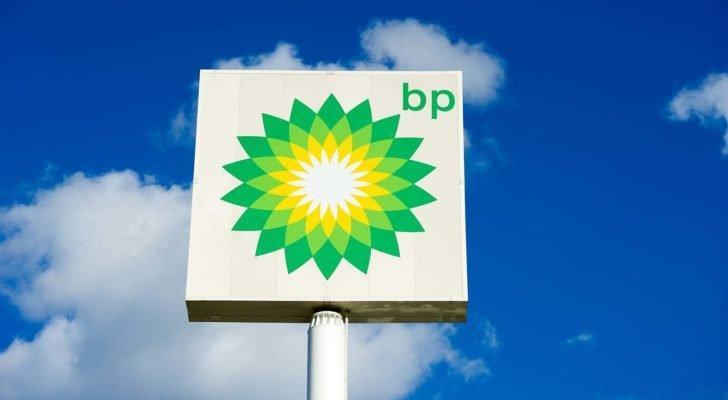 the BP (BP) logo on a sign against a blue sky with clouds