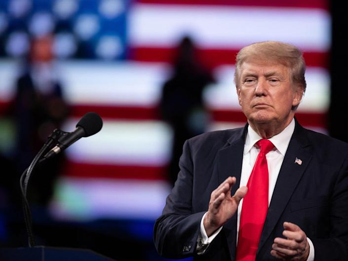 Former US President Donald Trump speaks at the Conservative Political Action Conference (CPAC) in Dallas, Texas on 11 July 2021 (AFP via Getty Images)
