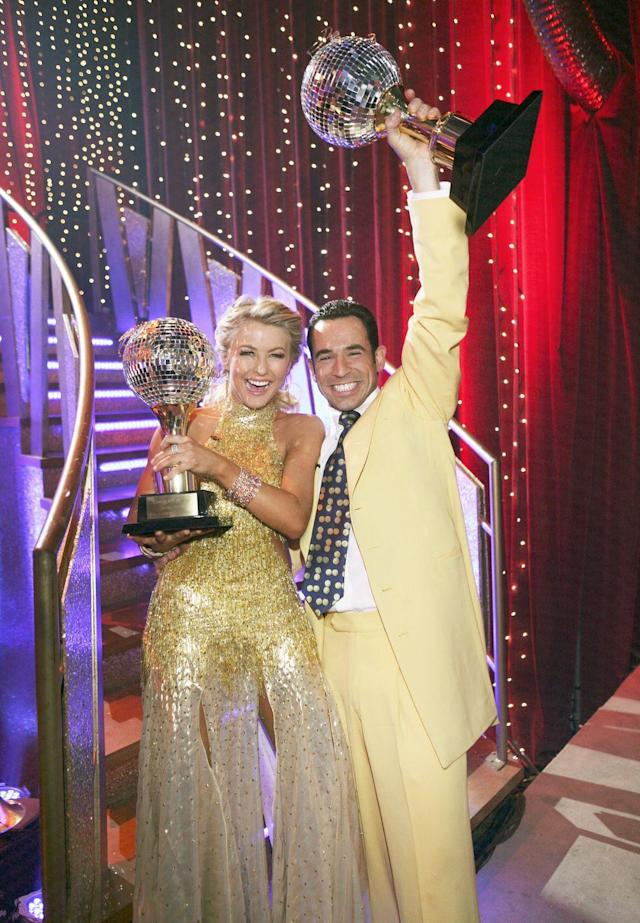 """<p>Brazilian race car driver Helio Castroneves won season five of <em>DWTS</em>. He was partnered with Julianne, and their on-the-floor chemistry was undeniable. No one can forget <a href=""""https://youtu.be/QQAwaiGnorI"""" rel=""""nofollow noopener"""" target=""""_blank"""" data-ylk=""""slk:that kiss"""" class=""""link rapid-noclick-resp"""">that kiss</a> during their fast-paced mambo!</p>"""