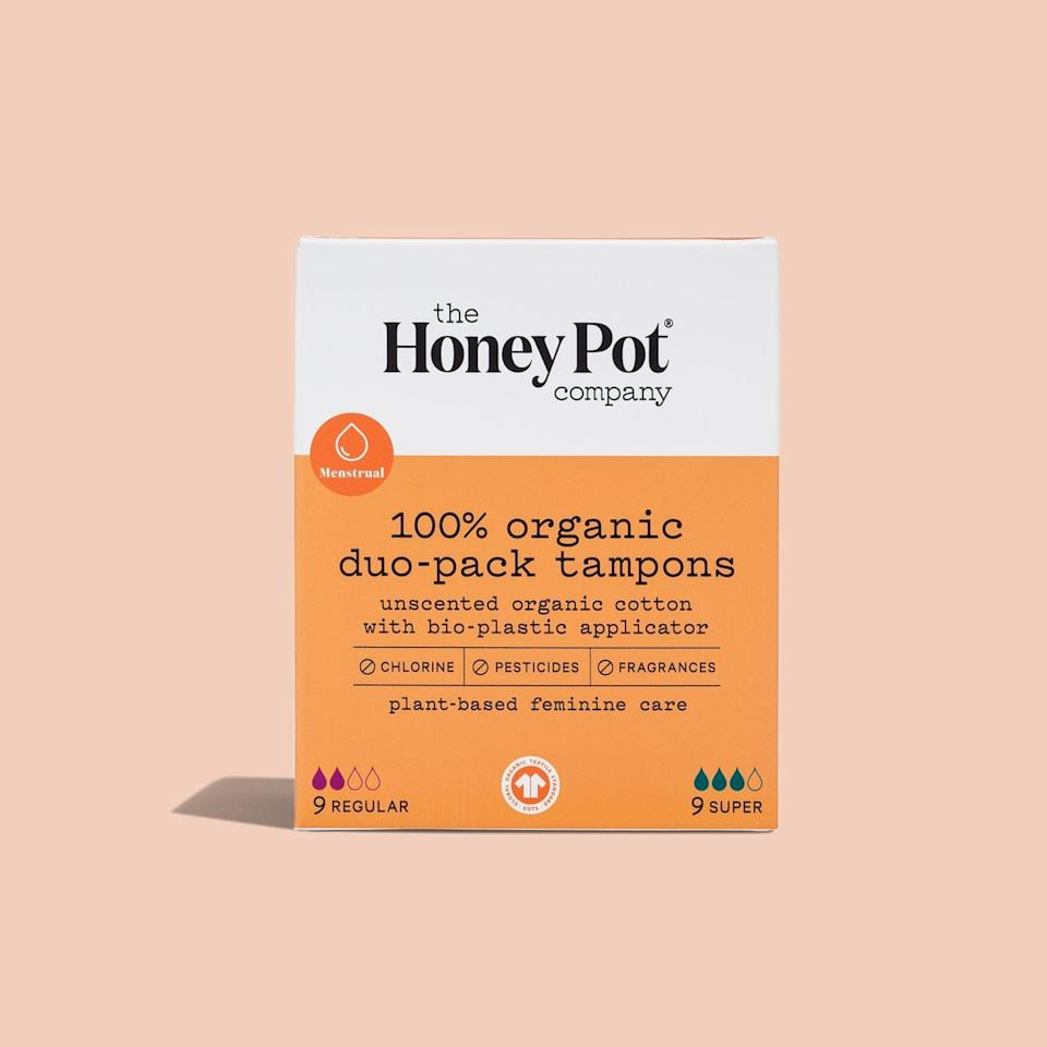 """<p>""""I'm a creature of habit and have been using the same brand of tampons since I got my period until I heard about The Honey Pot, a line of products for people with vaginas. Every product is free of chemicals, toxins, artificial fragrances, and synthetic materials, and is also plant-based and biodegradable! You can tell that a lot of thought went into each product, and I also love that this company was founded by a Black woman. I've only tried the <product href=""""https://thehoneypot.co/products/organic-duo-pack-tampons"""" target=""""_blank"""" class=""""ga-track"""" data-ga-category=""""internal click"""" data-ga-label=""""https://thehoneypot.co/products/organic-duo-pack-tampons"""" data-ga-action=""""body text link"""">100-Percent Organic Duo-Pack Tampons</product> ($9) so far, and I really like that the applicator is thinner than other brands, which makes for a smooth insertion. I can't wait to try the brand's other products, but these tampons are definitely an essential item for me."""" - Tamara Pridgett, associate editor, Fitness</p>"""