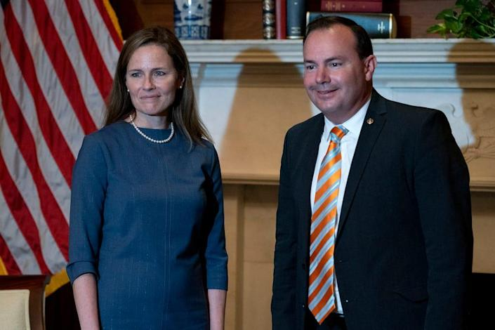Judge Amy Coney Barrett, President Donald Trump's nominee for the U.S. Supreme Court, meets with Sen. Mike Lee, R-Utah, on Sept. 29 in preparation for her confirmation hearing.
