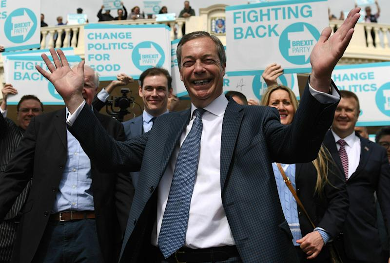 MEP Nigel Farage gestures during a walkabout and rally in Clacton Essex England for his Brexit Party Wednesday