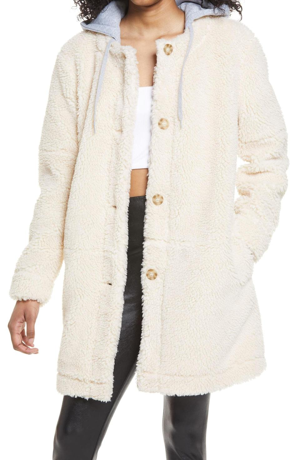 <p><span>BP. Long Hooded Teddy Coat</span> ($55, originally $69)</p>