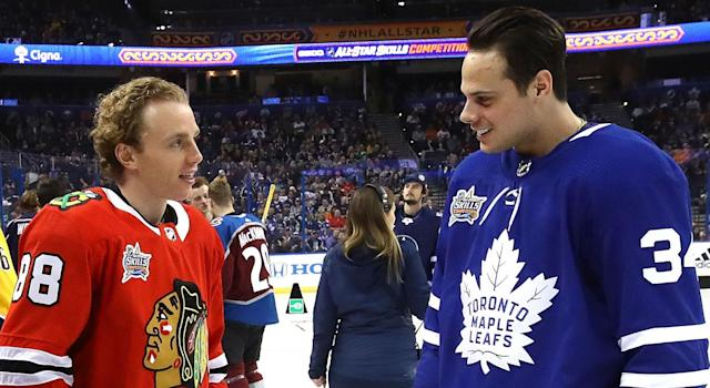 Patrick Kane is a big Auston Matthews fan. (Photo by Bruce Bennett/Getty Images)