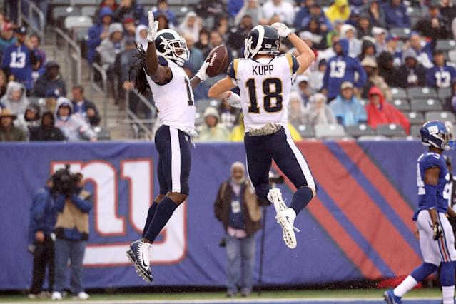 <p>Sammy Watkins #12 of the Los Angeles Rams celebrates scoring a touchdown with Cooper Kupp #18 against the New York Giants in the first half at MetLife Stadium on November 5, 2017 in East Rutherford, New Jersey. (Photo by Rob Carr/Getty Images) </p>