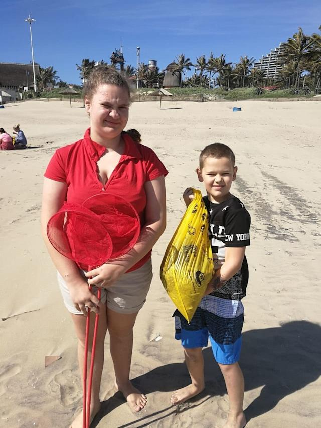 Siblings Alexis, 12, and Sabastian Keet, 8, collected nurdles on Durban's uShaka Beach. (Anelda Keet)