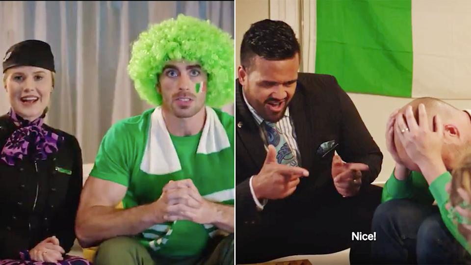 Air New Zealand's latest ad sees the national carrier make fun of Irish rugby fans. Pic: Air New Zealand