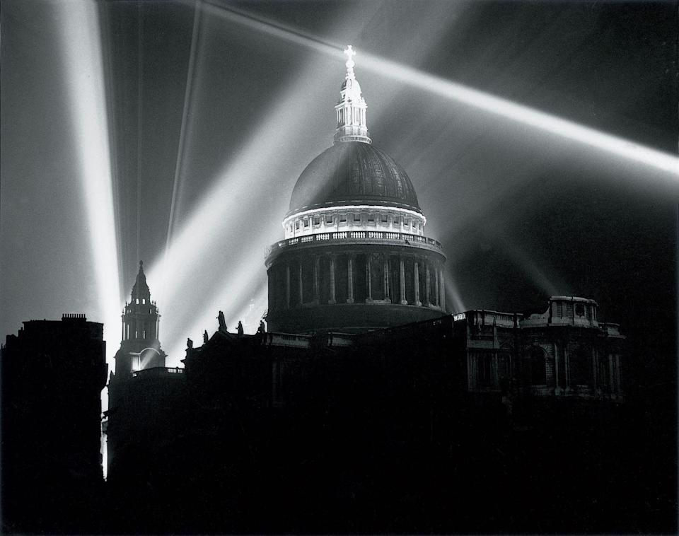 <p>St Paul's Cathedral illuminated on the night of V-E Day.</p>