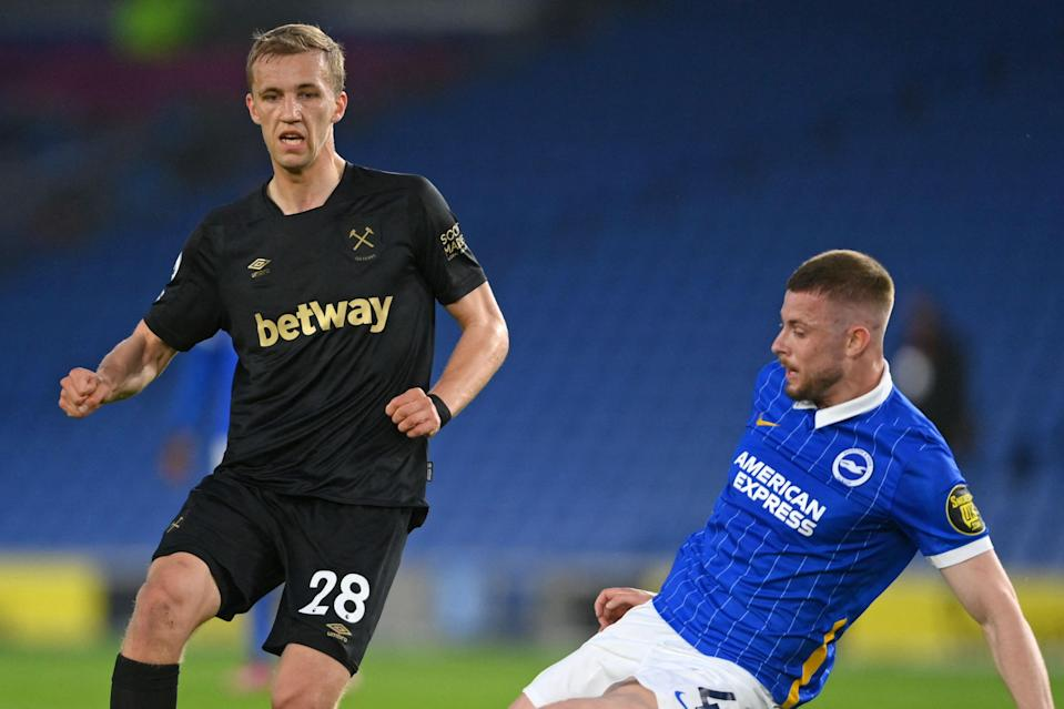 <p>Tomas Soucek and West Ham were unable to overcome Brighton on Saturday</p> (POOL/AFP via Getty Images)