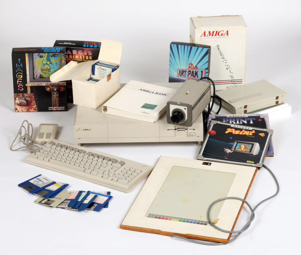 This undated photo provided by The Andy Warhol Museum in Pittsburgh, Pa., shows computer equipment that the museum says is Commodore Amiga computer equipment used by Andy Warhol in 1985-86. The museum says in a release that the artist had a contract with Commodore International to produce images on one of its Amiga home computers. The old images recently were extracted from disks by members of Pittsburgh's Carnegie Mellon University Computer Club in collaboration with museum staff. (AP Photo/The Andy Warhol Museum)